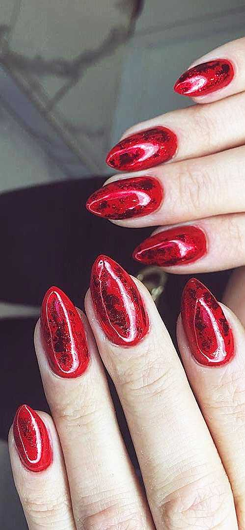 red coffin nail designs