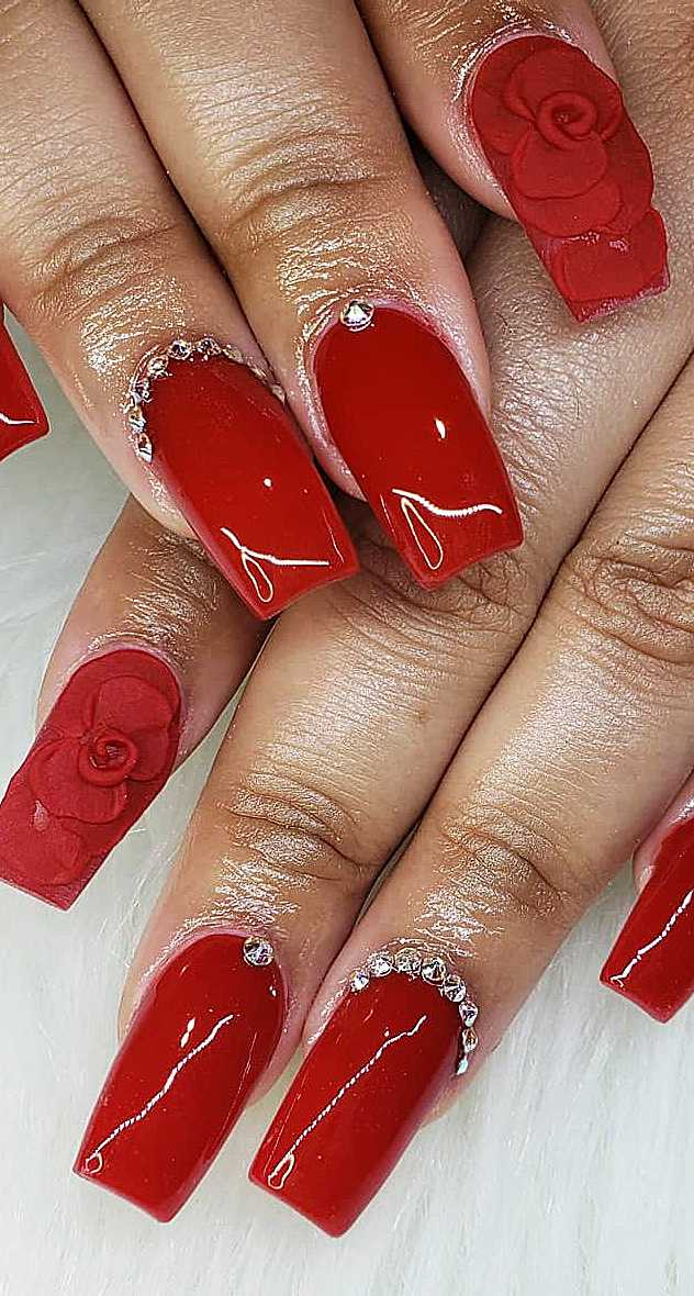 38 Red Nails Design Ideas. Different Coffin, Acrylic and