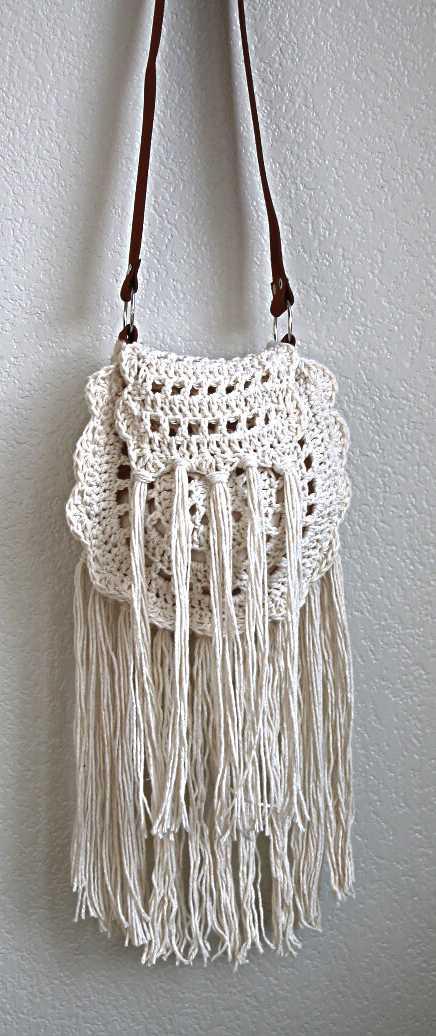 white boho crochet bag